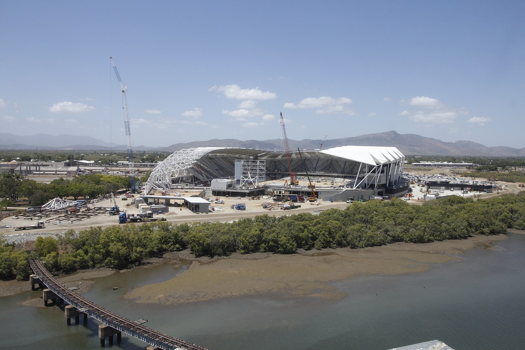 Cranes cap off latest stage in NQ Stadium construction